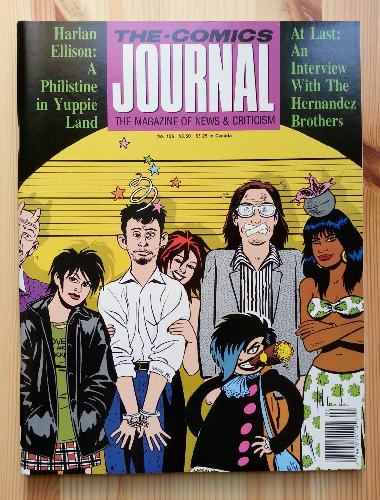 THE COMICS JOURNAL 126 cover by Jaime and Gilbert Hernandez, from january 1989