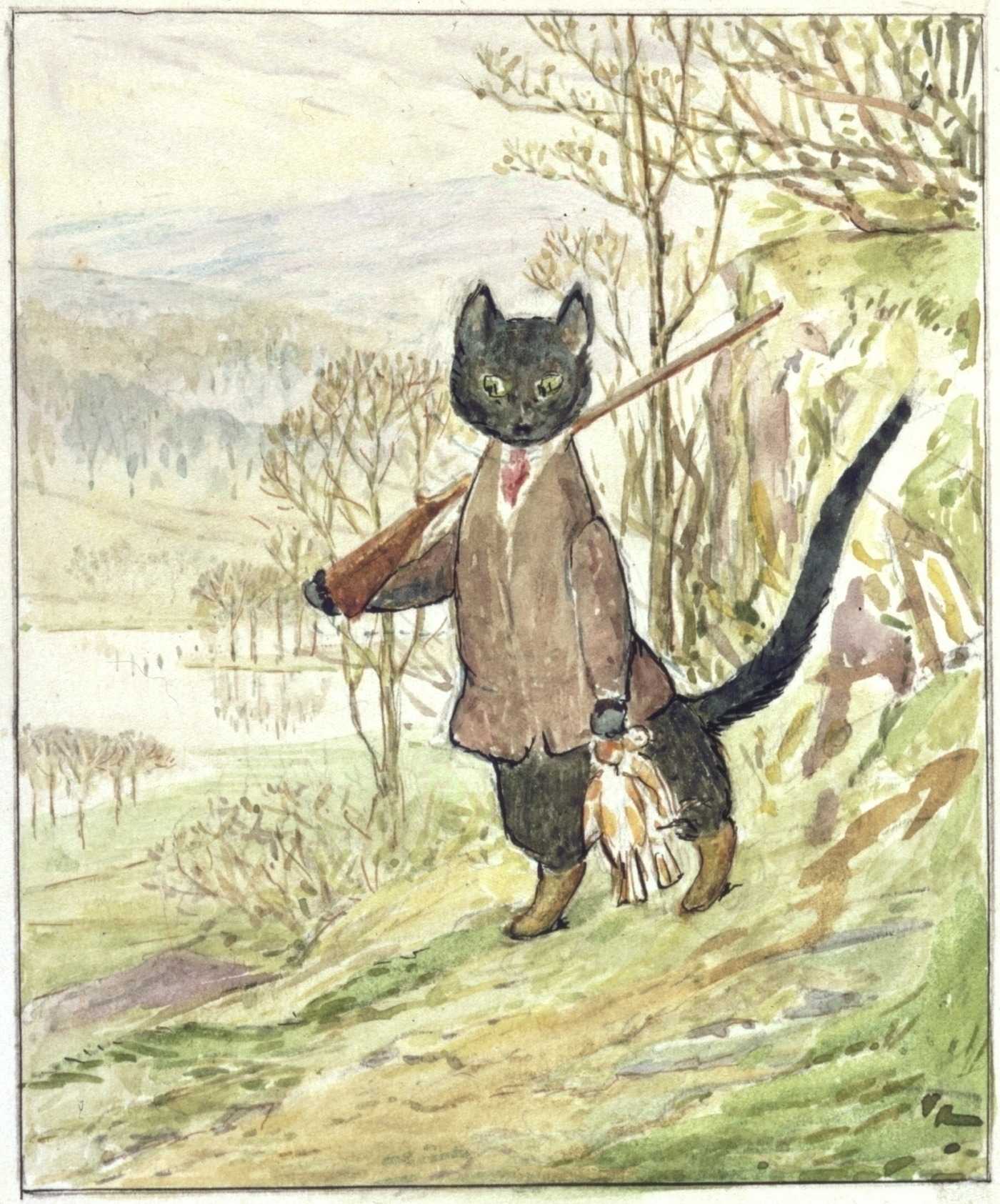 Beatrix Potter wrote three drafts of The Tale of Kitty-in-Boots and did one watercolor illustration (above). But the book was left incomplete when she died in 1943, and it is now being published posthumously, with illustrations by Quentin Blake.